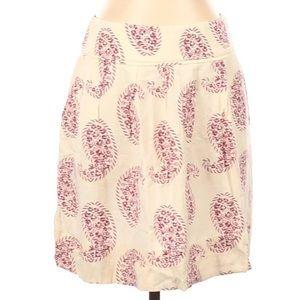 LOFT NWT Paisley Floral Skirt Cream-Purple 00P